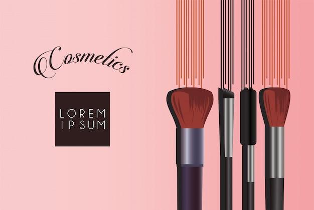 Satz kosmetik make-up mit schriftzug