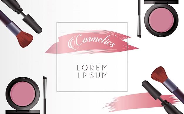 Satz kosmetik make-up quadratischen rahmen