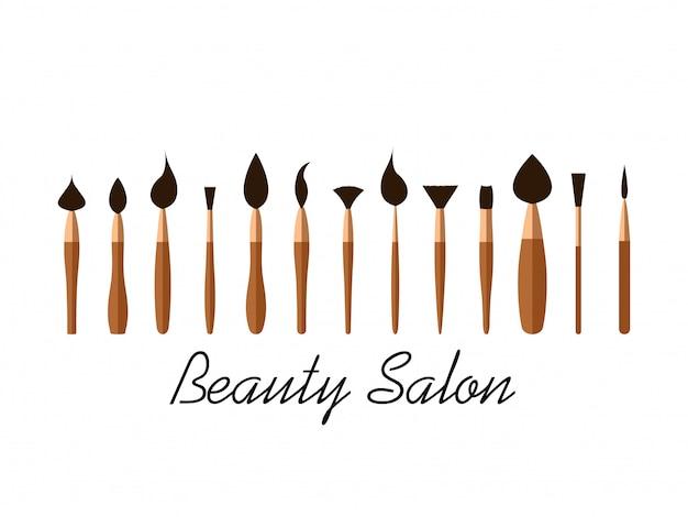 Satz kosmetikbürsten für schönheitssalon