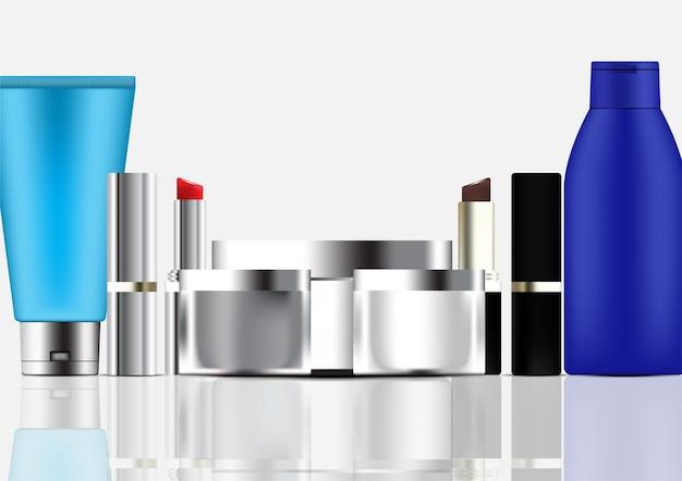 Satz kosmetische produktschablone