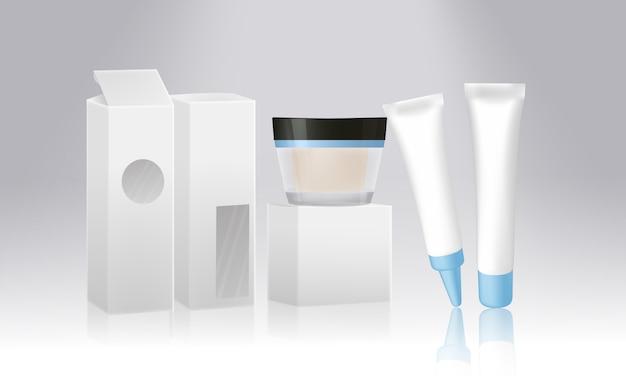 Satz kosmetische produktverpackung lokalisiert auf weißem hintergrund