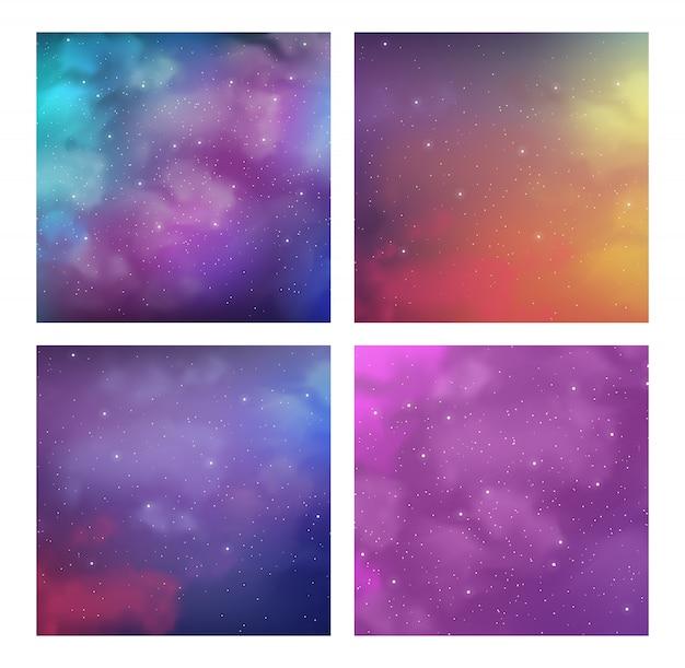 Satz kosmischer hintergrund oder abdeckung stellte mit magischen hellen farben ein