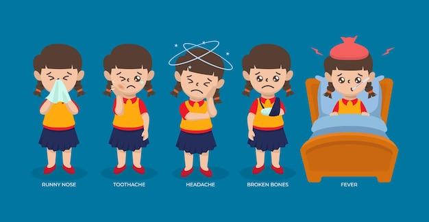 Satz kranker kindermädchenjugendlicher mit verschiedenen krankheitsdesignillustration