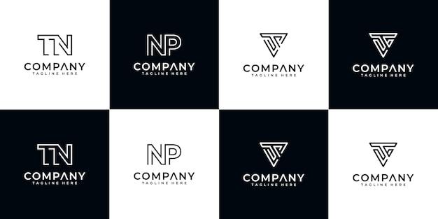 Satz kreative abstrakte monogramm-logo-entwurfsschablone. logos für luxusgeschäfte, elegant, einfach. buchstabe tn, buchstabe np, buchstabe ts und buchstabe vt.