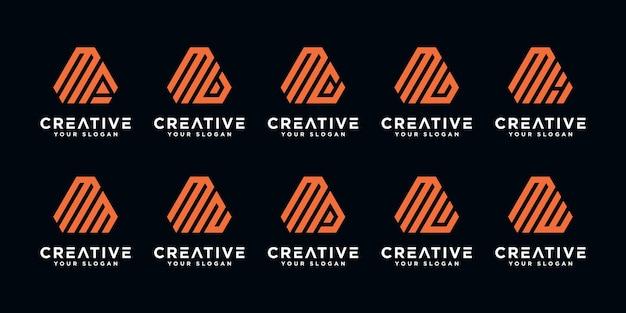 Satz kreative abstrakte monogrammbuchstaben m logo designvorlage