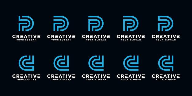 Satz kreative abstrakte monogrammbuchstaben p und d logo designvorlage