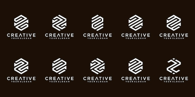 Satz kreative abstrakte monogrammbuchstaben-z-logo-design-sammlung