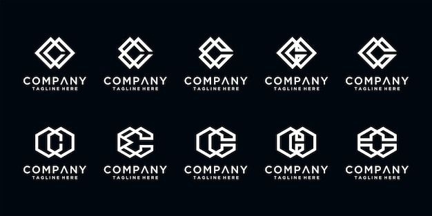 Satz kreative brief c monogramm abstrakte logo-design-vorlage