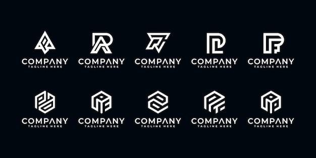 Satz kreative brief p monogramm abstrakte logo-design-vorlage