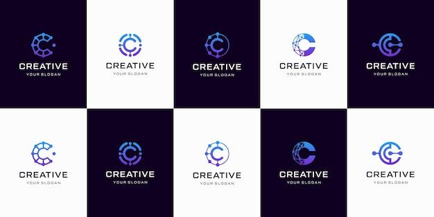 Satz kreative buchstabe c logo designvorlage. logos für das geschäft der technologie, digital, einfach