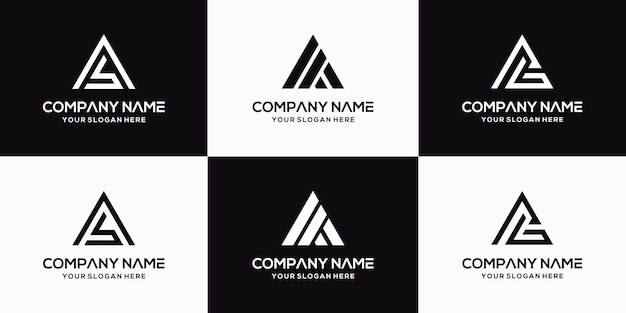 Satz kreative buchstaben-ab-logo-designschablone