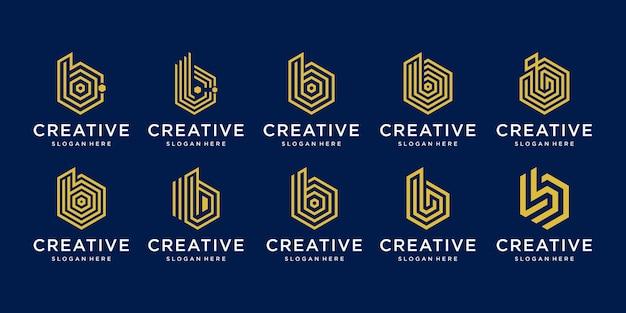Satz kreative buchstaben b logo design-sammlung.