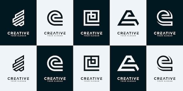Satz kreative buchstaben e-logo-designschablone.