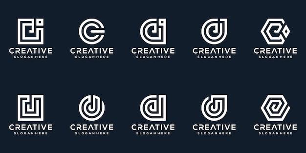 Satz kreative buchstaben j logo design-sammlung
