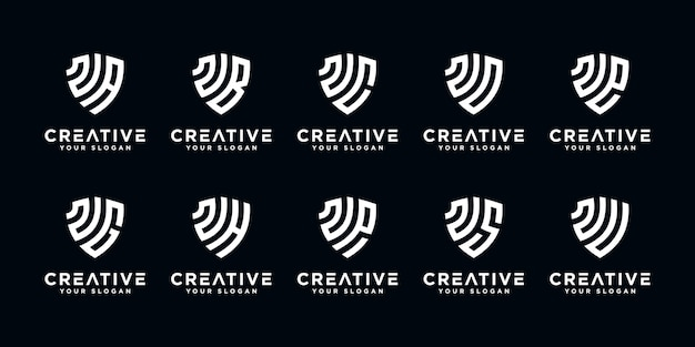 Satz kreative buchstaben n und etc logo-vorlage mit schild kunststil. symbole für das finanzgeschäft, beratung, einfach.