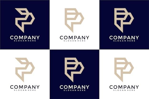Satz kreative buchstaben p-logoschablone