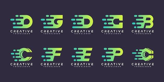 Satz kreative buchstabenlogo-entwurfsschablone. anfängliches logo-design. logos