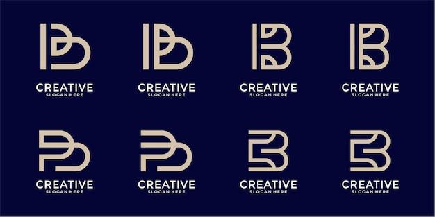 Satz kreative buchstabenmarkierungsmonogrammbuchstaben b-logoschablone