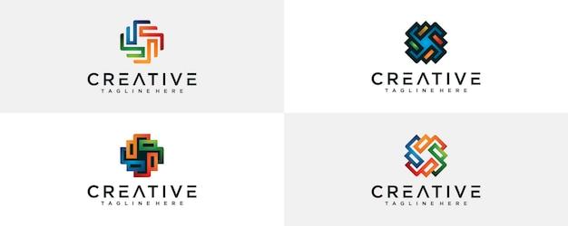 Satz kreative bunte abstrakte logo-schablone