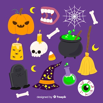 Satz kreative halloween-elemente