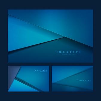 Satz kreative hintergrunddesigne im tiefen blau