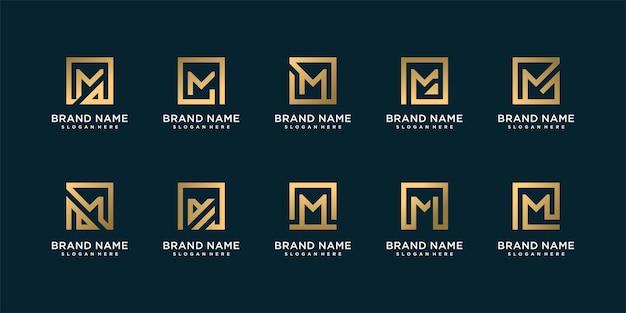 Satz kreative logo-sammlung mit anfänglichem m für person oder firma mit goldenem quadratkonzept