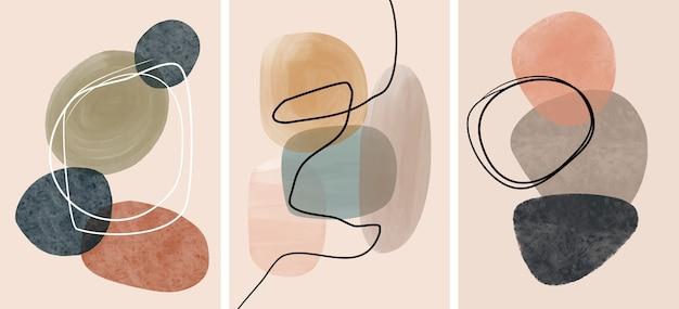 Satz kreative minimalistische handgemalt. abstrakte kunst
