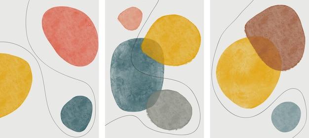 Satz kreative minimalistische handgemalt. hintergrund der abstrakten künste.