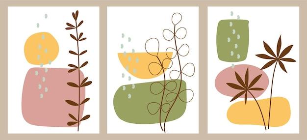 Satz kreative minimalistische handgemalte illustrationen mit dekorativen zweigen und blättern und abstrakten farbflecken. für postkarte, poster, poster, broschüre, cover-design.