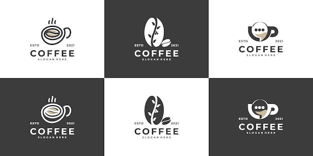 Satz kreative moderne kaffeetasse mit bohnenlogo-designvektorschablone