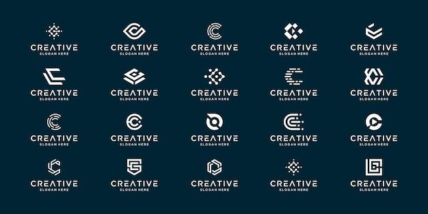 Satz kreative monogramm anfangsbuchstabe c. moderne minimale logo-design-vorlage.