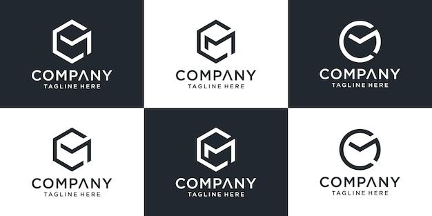 Satz kreative monogramm-anfangsbuchstabe cm-logo-vorlage