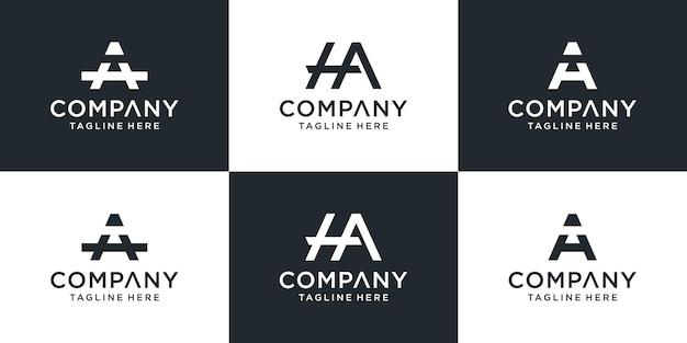 Satz kreative monogramm-anfangsbuchstabe ha-logo-vorlage