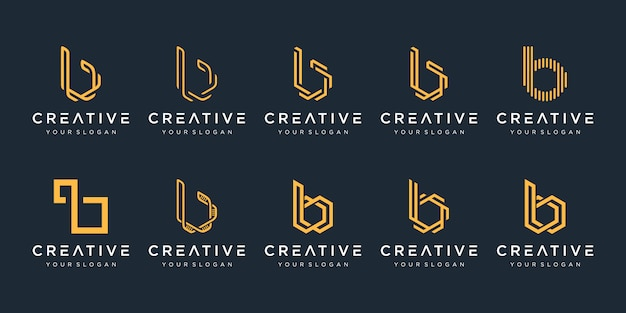 Satz kreative monogramm buchstabe b logo-vorlage. das logo kann für bauunternehmen verwendet werden.