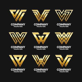Satz kreative monogramm-buchstaben-w-logo-vorlage