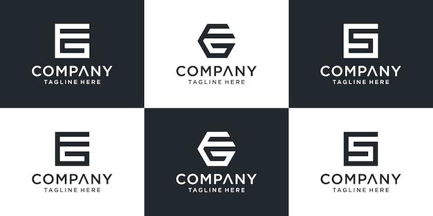 Satz kreative monogramm-eg-logo-vorlage. das logo kann für unternehmen und bauunternehmen verwendet werden.
