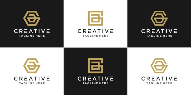 Satz kreative monogrammbuchstabe ae logo abstrakte design inspiration