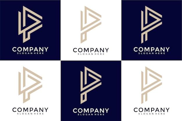 Satz kreative monogrammbuchstabe p logo-designschablone