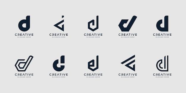 Satz kreative monogrammbuchstaben d logo designvorlage