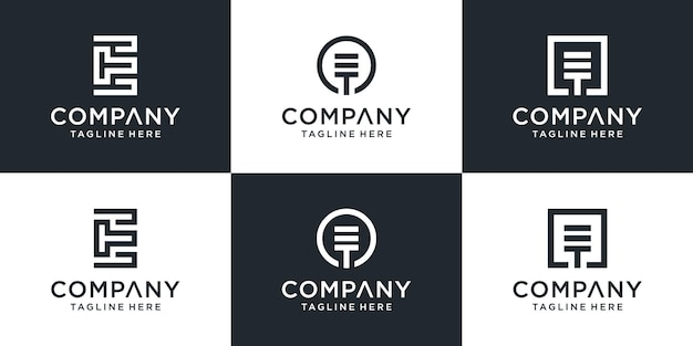 Satz kreative monogrammbuchstaben et logo abstrakte design inspiration