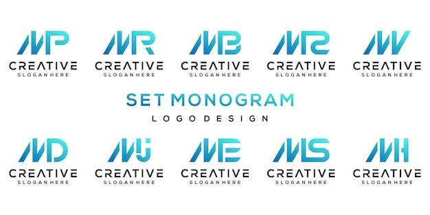 Satz kreative monogrammbuchstaben m logo designvorlage.