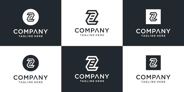 Satz kreative monogrammbuchstaben z logo design inspiration
