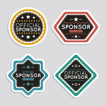 Satz kreative sponsoring-aufkleber
