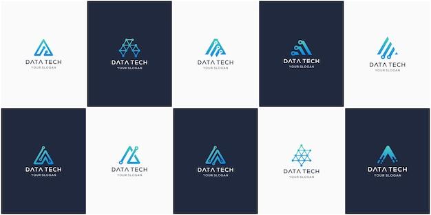 Satz kreativer buchstabe a, modernes digitales technologie-logo.