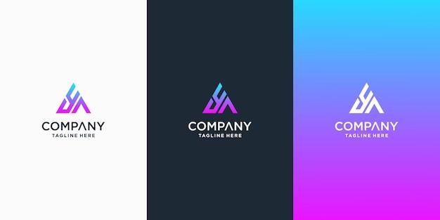 Satz kreativer buchstabe aa logo-designschablone premium