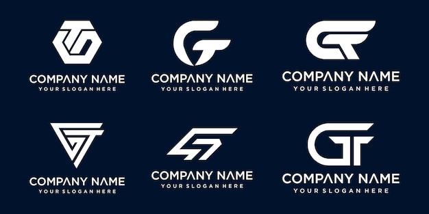 Satz kreativer buchstabe gt logo-designschablone