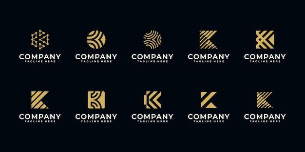 Satz kreativer buchstabe k logo design templater