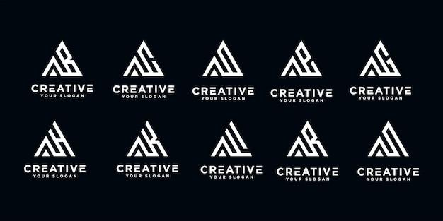 Satz kreativer buchstaben eine abstrakte logo-entwurfsschablone des monogramms