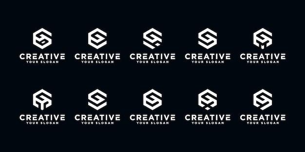 Satz kreativer buchstaben g und usw. mit sechseck-logo-design-inspiration.