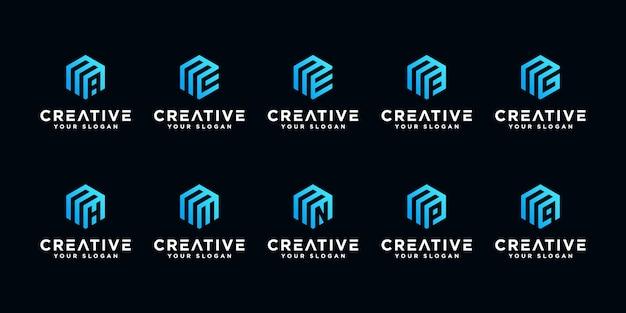 Satz kreativer buchstaben m und usw. mit sechseck-logo-design-inspiration.